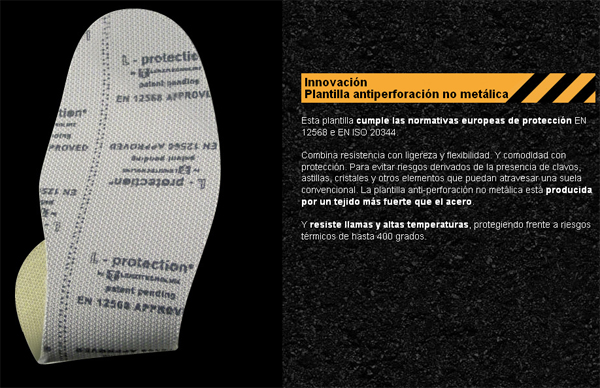Plantilla antiperforación no metálica / Non-metal puncture-resistant insole / Semelle anti-perforation non métallique