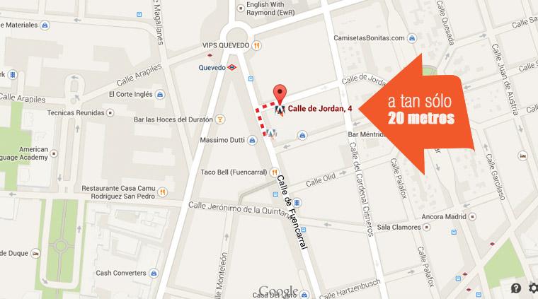 mapa traslado azules de vergara a la calle jordán 4 de madrid